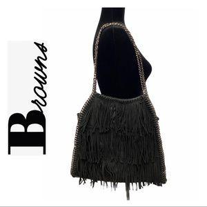 Browns Black Fringed Bag